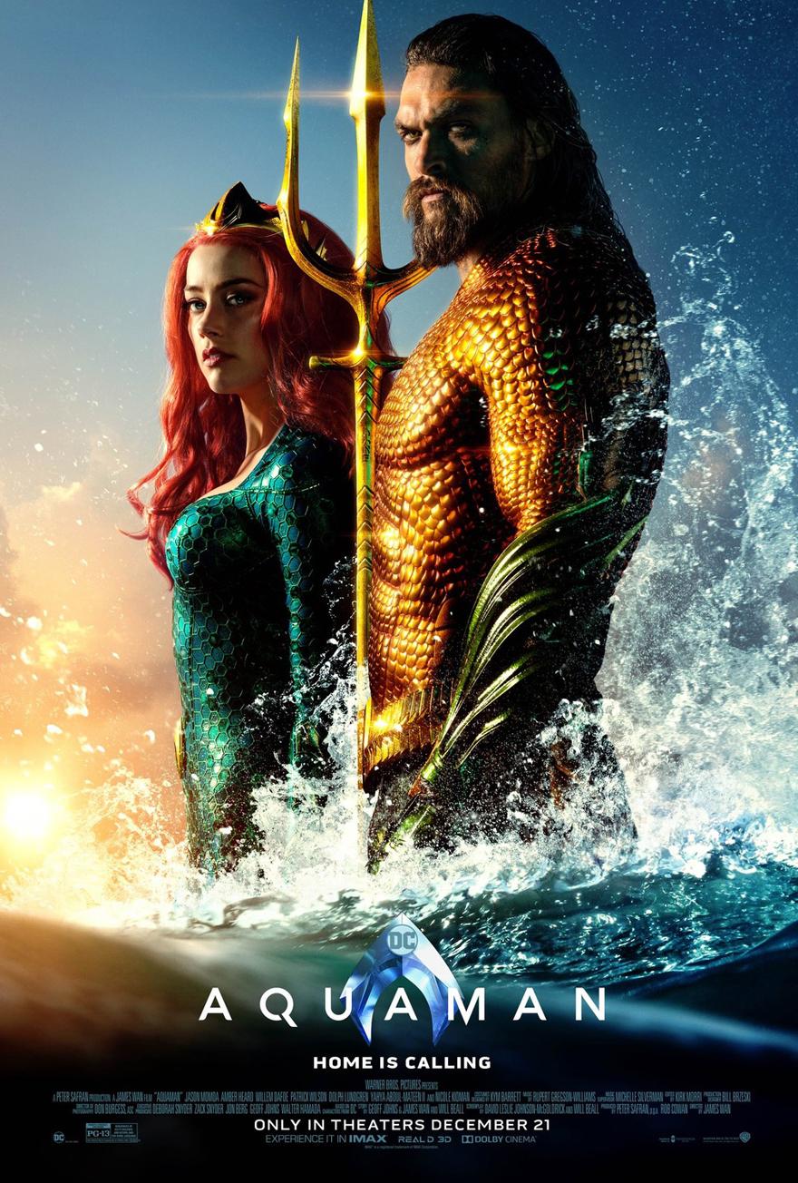 Aquaman  Jason Momoa Amber Heard Silk Poster 24 X 14 inch