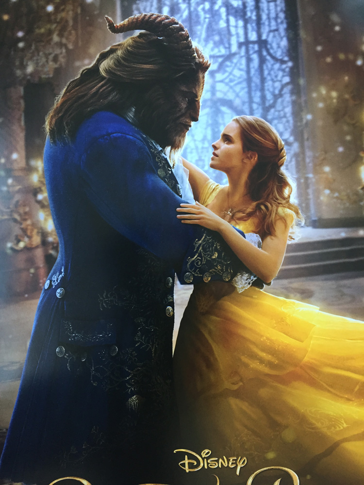Near Mint Condition Double Sided RARE ORIGINAL US 1 Sheet Poster For The Movie BEAUTY AND THE BEAST Directed By BILL CONDON Starring EMMA WATSON