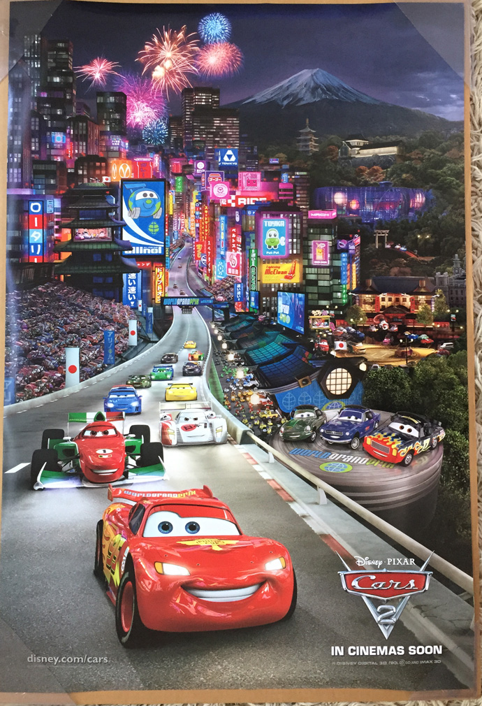 Cars 2 Movie Poster 2 Sided Original Rare Intl Tokyo 27x40 Owen