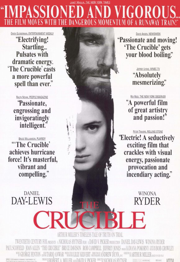 a summary and review of the movie the crucible The crucible movie review the crucible is a movie based on the true story about the witch trials that were held in salem, massachusetts in 1692.