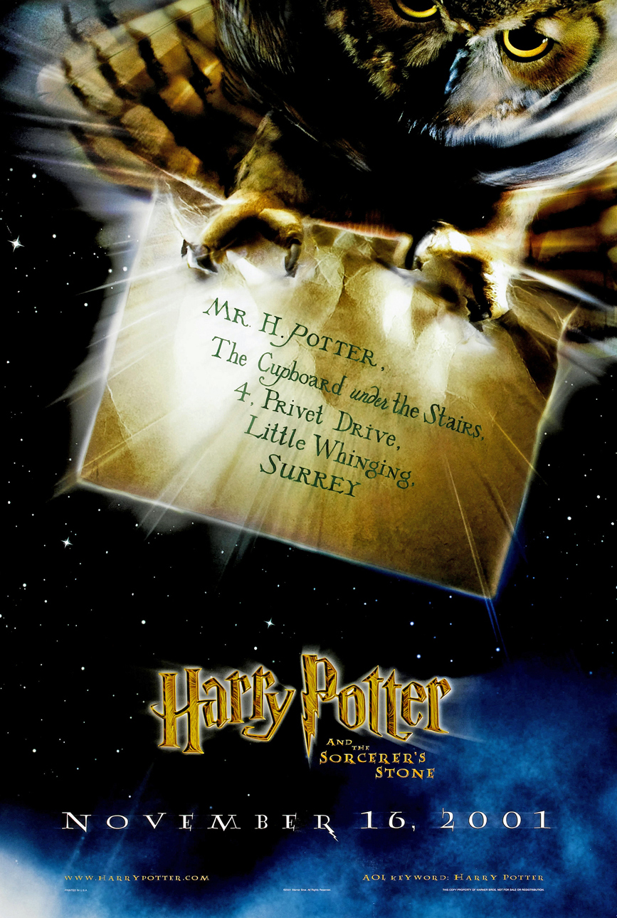 Details About Harry Potter And The Sorcerers Stone Movie Poster 2 Sided Original Owl 27x40