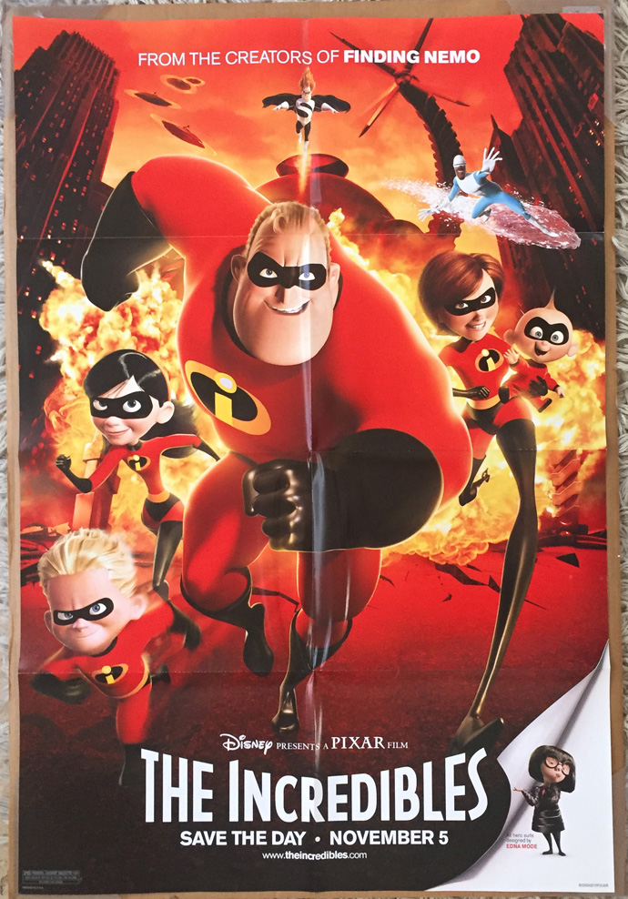 The Incredibles Movie Poster 2 Sided Original Final Folded