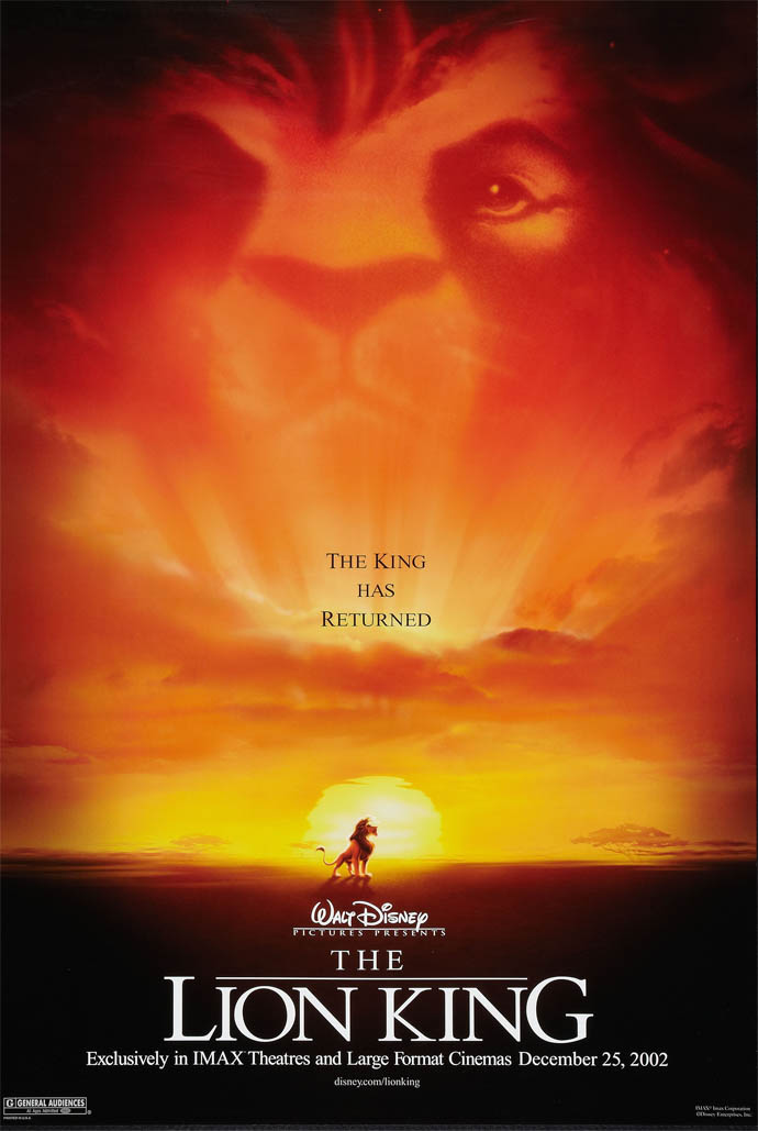 the lion king movie poster 2 sided original imax 27x40