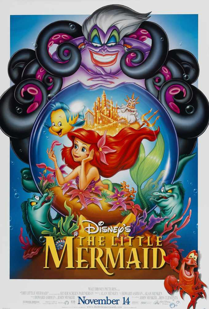 the little mermaid movie poster 2 sided original rolled 27x40 disney