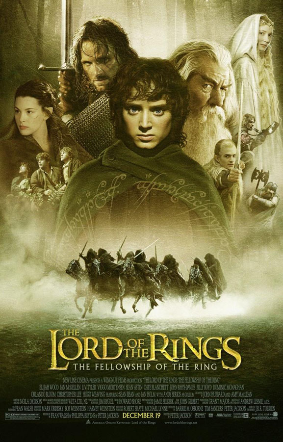 lord of the rings fellowship ring movie poster 1 sided original