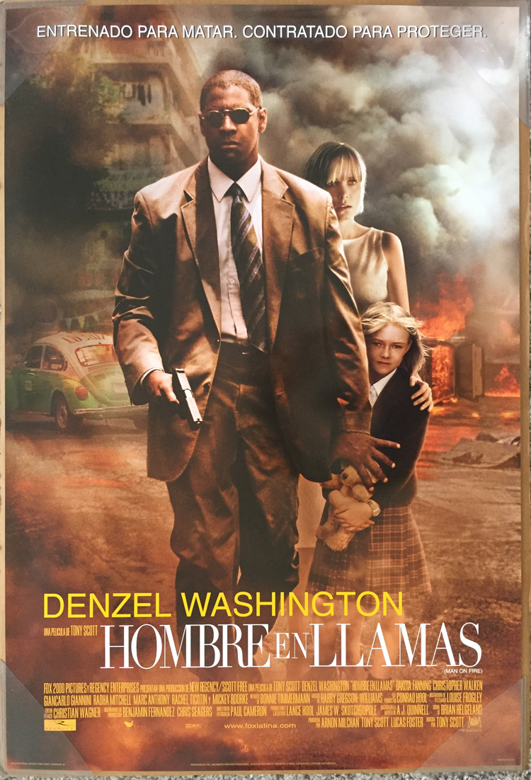 Details About Man On Fire Movie Poster 2 Sided Original Spanish 27x40 Denzel Washington
