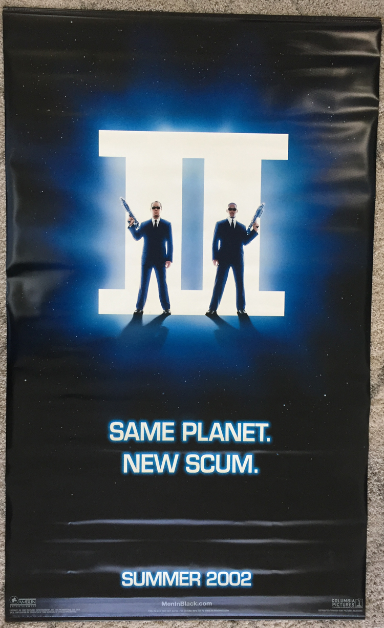Details About Men In Black Ii 2 Movie Poster Banner 2 Sided Original 50x84 Will Smith