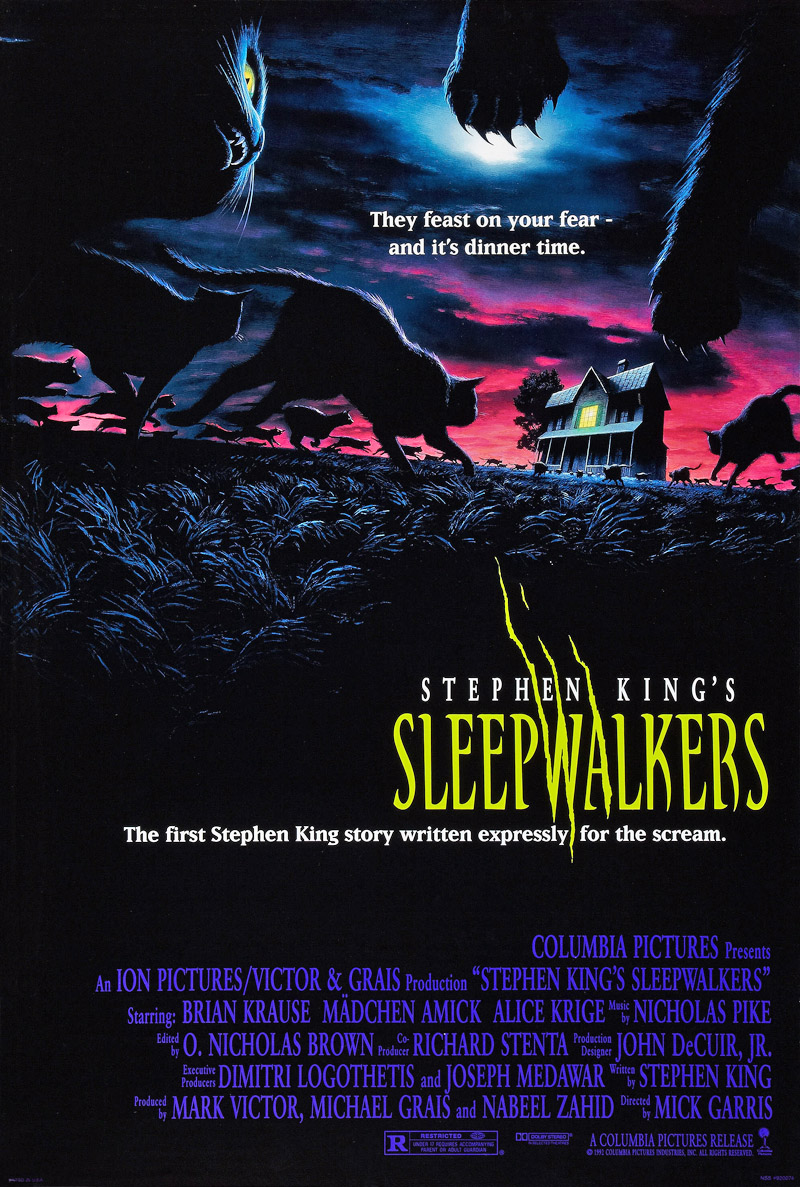 Details about SLEEPWALKERS MOVIE POSTER 2 Sided RARE ORIGINAL VF 27x40  STEPHEN KING